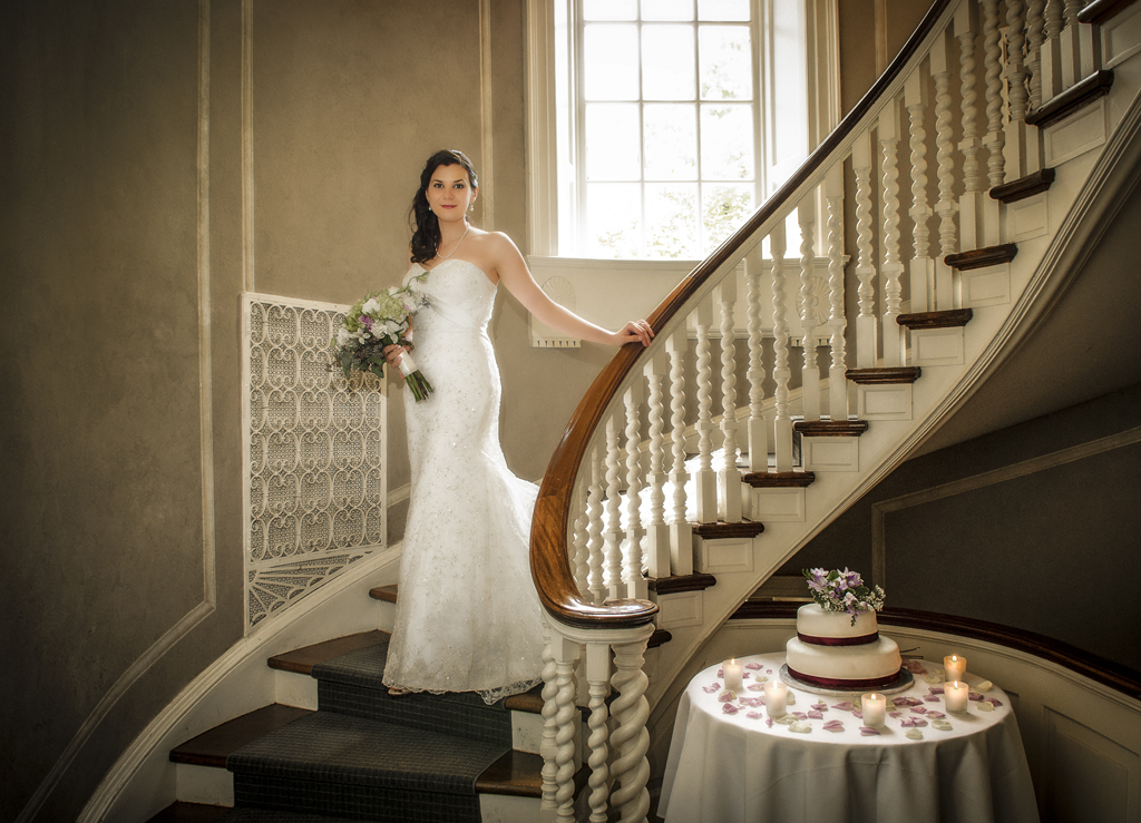 bride in McLean House staircase