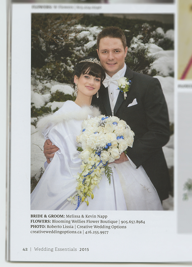 Winter bridal couple on Wedding Essential Magazine