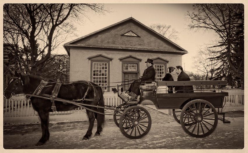 Bride and groom on Horse and buggy at Pioneer Village